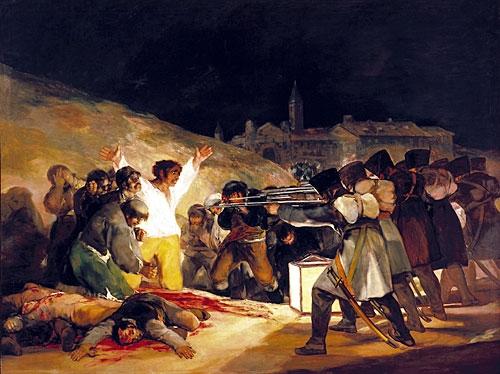 Fig. 3: Francisco Goya: Den 3. Maj 1808. Der er et tydeligt slægtskab mellem Goyas krigsmalerier og raderinger og krigsscenerne i Children of Men.