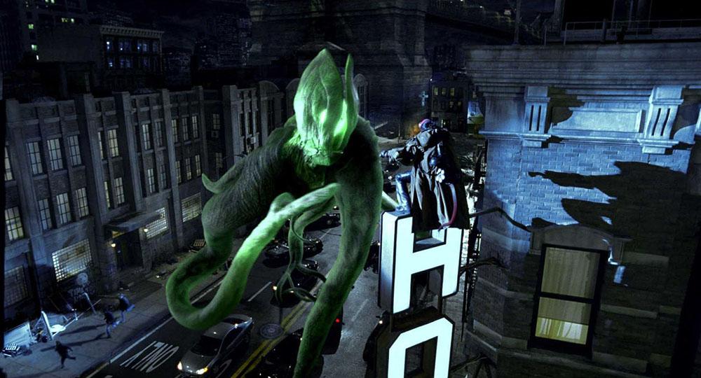 Fig. 6: Scenen fra Hellboy II, hvor Hellboy slår skovguden ihjel i Brooklyns gader er lige dele melankolsk filmdigt og vellykket actionsekvens.