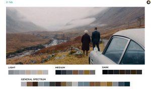 Fig. 4+5: Fig. 4-5: Screengrabs fra henholdsvis  den grafiske designer Roxy Radulescus blog Movies in Color og Frederic Brodbecks projekt Cinemetrics; Radulescu har analyseret en frame fra Skyfall, mens Brodbeck har arbejdet med bl.a. farvepalletten i Quantum of Solace (Forster, 2008). Som det fremgår, optræder den orange også mod slutningen af den 22. Bond-film. Radulescu siger om baggrunden for at starte Movies in Color, hvor hun analyserer farvepaletter i specifikke filmindstillinger: The idea started when I was watching Skyfall. I was taken with the cinematography and use of color more so than the story itself. I wanted to find out what colors made up certain stills and after making a few color palettes for Skyfall, took it a step further by extending it to all films and starting a blog.