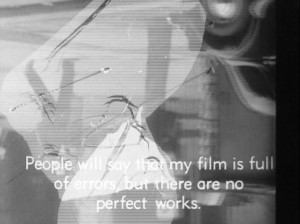"""Fig. 9-10: """"The Cinema has reached the phase where an art commits errors…"""" Billedpar: Traite de bave et d'éternité (1951)."""