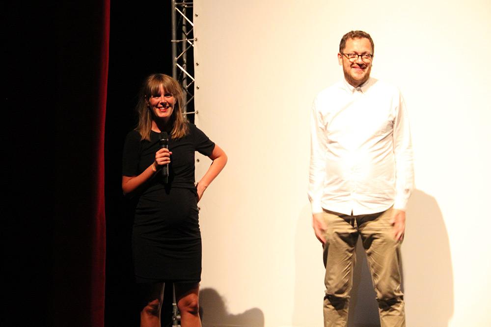 Fig. 4: Producer Ditte Milsted og instruktør Jesper Vidkjær Rasmussen præsenterer her Riders, som de håber kan ramme en A-festival og dermed stadig komme i DFIs festivaldistribution. Foto: Anne Uhrenholt Kjeldsen.
