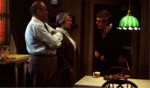 Fig. 3: Widerberg instruerer Carl-Gustaf Lindstedt og Birgitta Walberg i TV-produktionen af Arthur Millers klassiske drama En handelsresandes död.