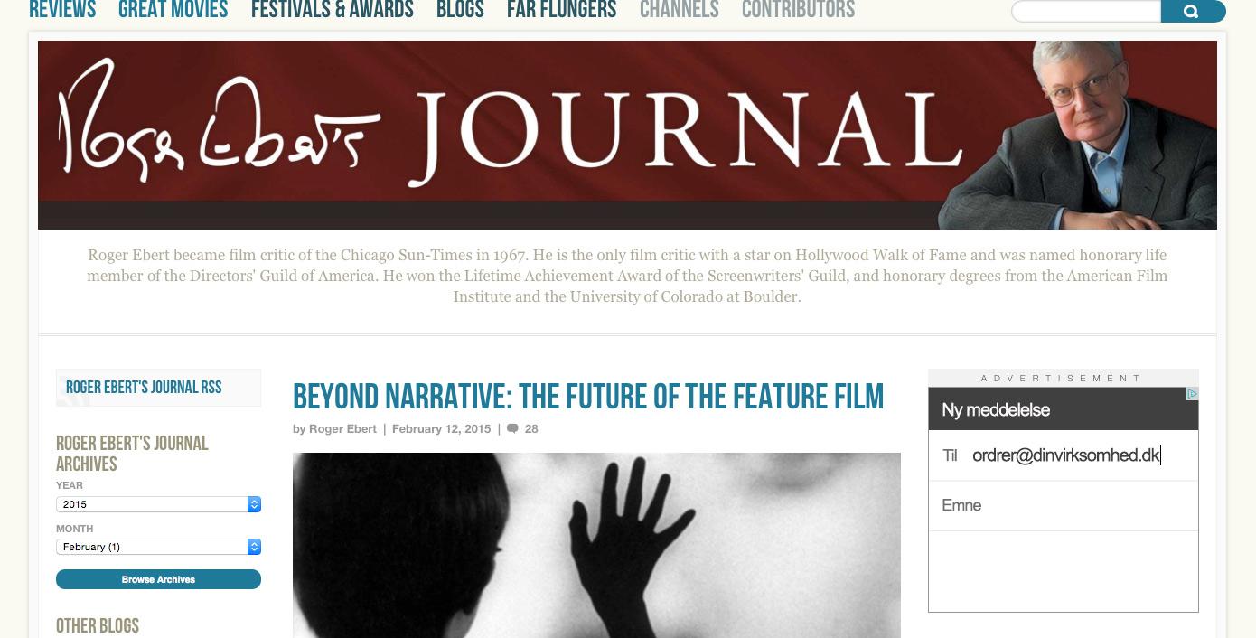 Fig. 6: På Roger Eberts Journal har man samlet Roger Eberts artikler og anmeldelser.