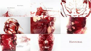 Fig. 12: This very short title sequence establishes Hannibal as a creature made of blood and/or wine, maybe insinuating both his mortality and his monstrous superiority.