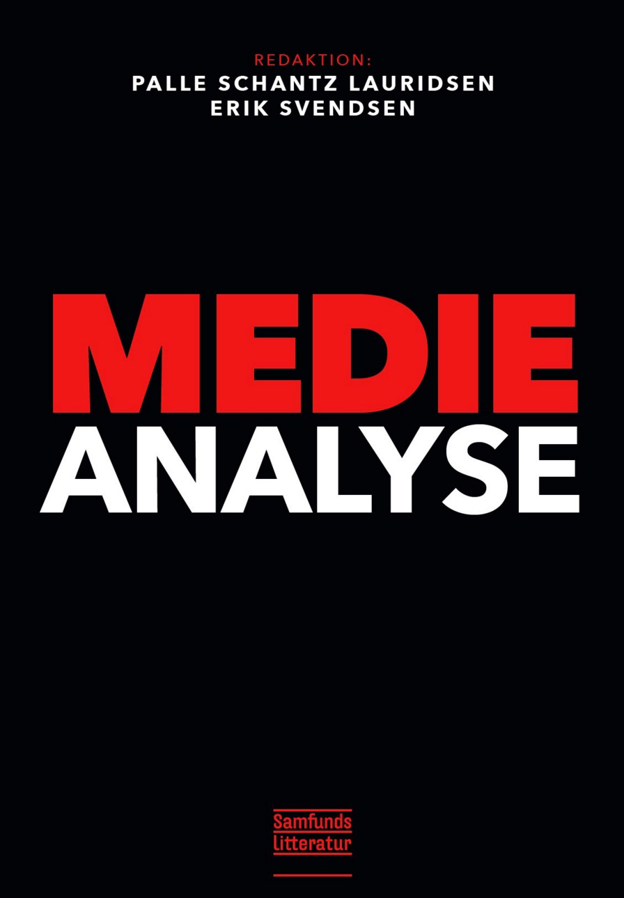Fig. 1: Forsiden til Medieanalyse (Samfundslitteratur, 2015, red. Palle Schantz Lauridsen & Erik Svendsen), der i farvesammensætningen og fonten synes at referere til Mad Men (AMC, 2007-2014).
