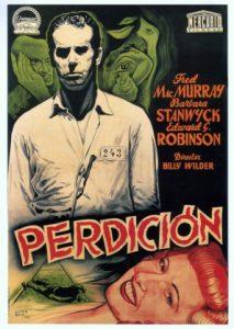 Fig. 2: Den skrottede henrettelsesscene har fundet vej til denne denne smukke, let surrealistiske spanske plakat til Double Indemnity kreeret af Lopez Reiz.