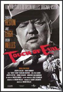 Fig. 3: At bruge Double Indemnity som det centrale illustrerende eksempel er nærmest obligatorisk i gennemgange af film noir. Blandt de mange berømte klassiske noirs, der øjensynligt ikke er noir nok til det formål, er Touch of Evil, trods det faktum at Welles' film ofte fremhæves som værket, der markerer den klassiske noir-periodes afslutning (se. eksempelvis Schrader 1972 s. 12).