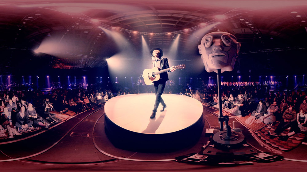 Fig. 17. The 360 degree VR images of Chris Milk's interactive Hello Again featuring Beck are as difficult to replicate in 2D as Godard's 3D separation above.