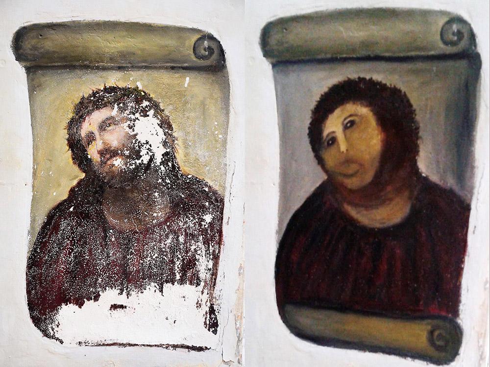 """Fig. 9: Kalkmaleriet af Jesus før – og efter – """"restaureringen"""". I dag har kirken, hvor det findes, flere besøgende end nogensinde og tager entré."""
