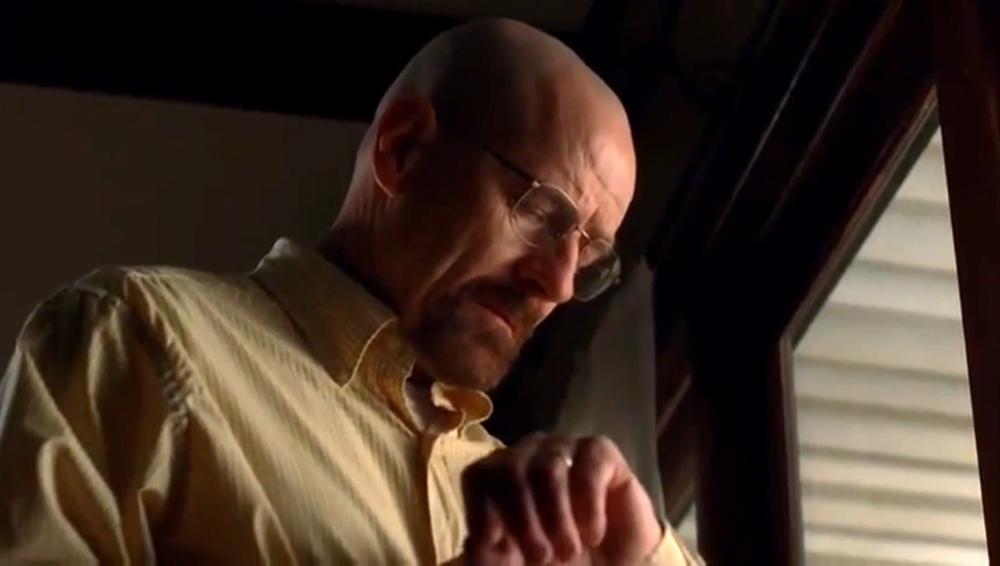 Fig. 8: Walter White looking at his wrist watch, making sure that everything goes according to plan.