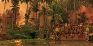 Fig. 11: Det er tydeligt, at Klovn: The Movie har ladet sig inspirere af Apocalypse Now i fremstillingen af Skanderborg Festival. Også i Apocalypse Now har naturkræfterne således overtaget på Kurtz' militærbase dybt inde i junglen.