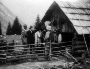 Fig. 1: Jánošík (dir. Jaroslav Siakeľ, 1921). The frame story of the 1921 version of Jánošík takes great care to locate the bandit's myth in the past, while the modern (Czecho)Slovaks are depicted in contemporary 1920s clothing, outside of the old shepherd who retells the myth.