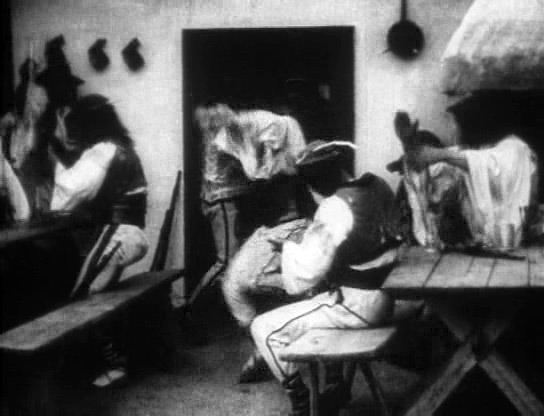 Fig. 2: Jánošík (dir. Jaroslav Siakeľ, 1921). Notice here the emphasis on folk dancing and folk costume. As benefits the film's genesis, this scene draws heavily from Jiří Mahen's 1910 stage play in both the staging and the perspective.