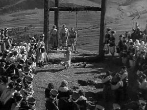 Fig. 5: Jánošík (dir. Martin Frič, 1935). The famous death sequence features Jánošík ripping his shackles off before impaling himself on the hook.