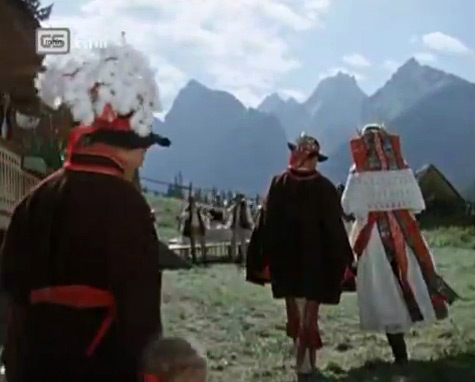 Fig. 10: Native Land (dir. Josef Mach, 1954). Although Native Land acknowledges that modern areas exist in Slovakia, the film's climax involves the hero and his bride returning back to their rural Slovak roots.