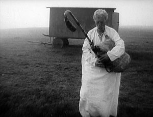 Fig. 12: Pictures of the Old World (dir. Dušan Hanák, 1972). Shepherds are still a common sight in the Slovak highlands, and Hanák deromanticizes this trope in this particular scene with a lonely alcoholic shepherd.