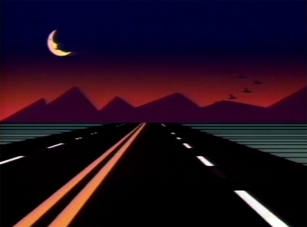Fig. 10: Introen til Solo Trans sender med nutidens blik i den grad seeren ind i både den digitale tidsalder og fortiden. On the Road Again i bedste 80'er-grafik.
